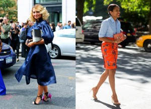 Two fashion insiders clutching their Cademartori creations at New York Fashion Week in 2013