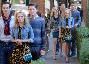 "A young Carrie Bradshaw totes around Cademartori's ""Kate"" bag"