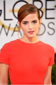 Emma Watson rocking a single, massive Dior pearl stud at the Golden Globes