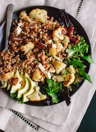 roasted-cauliflower-and-farro-salad-with-feta-and-avocado